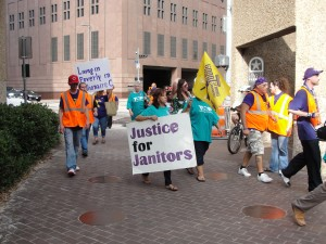 Janitors in Houston march for justice (July 15, 2012)